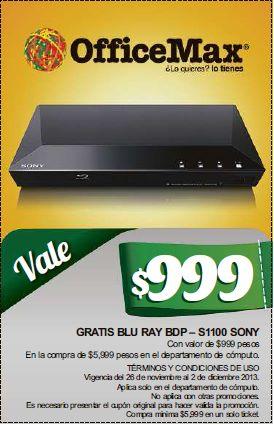 OfficeMax: reproductor blu-ray Sony gratis con cupón y compra mínima