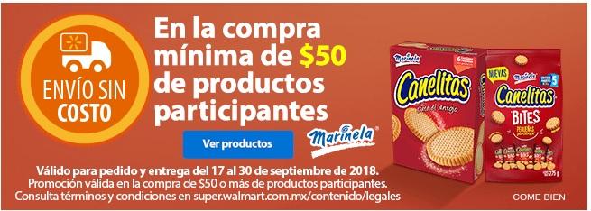 Walmart Super: Envío gratis en la compra de $50 de productos participantes Marinela