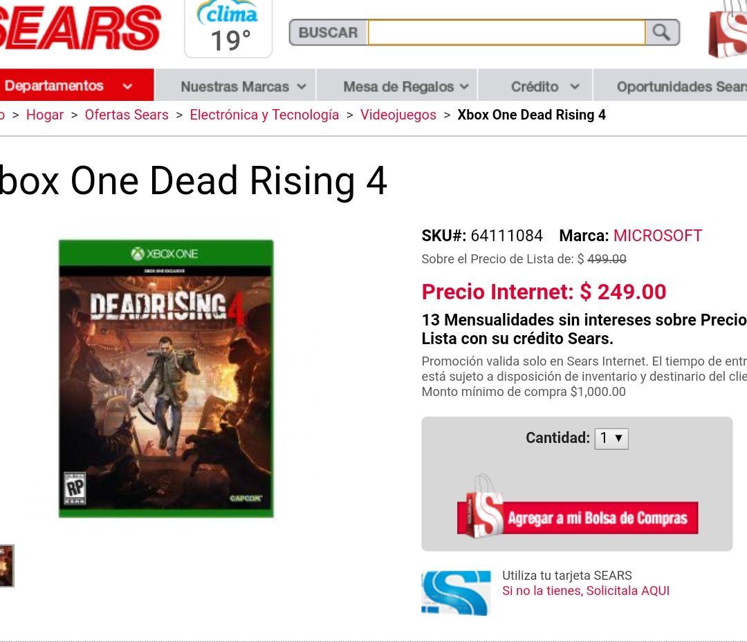 Sears: Dead Rising 4 Xbox one