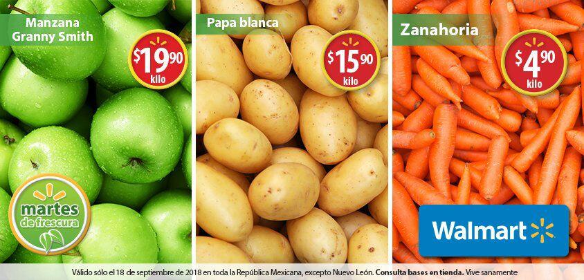 Walmart: Martes de Frescura 18 Septiembre: Zanahoria $4.90 kg... Papa Blanca $15.90 kg... Manzana Granny Smith $19.90 kg.