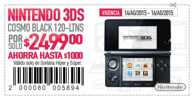 Soriana: ¡ULTIMO DÍA! Nintendo 3DS a $2499 con cupón Soriticket (en app o impreso) y otros 20 cupones