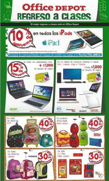 Office Depot: 10% de descuento en iPads, 15% menos + $1,000 de bonificación en computadoras Acer y +