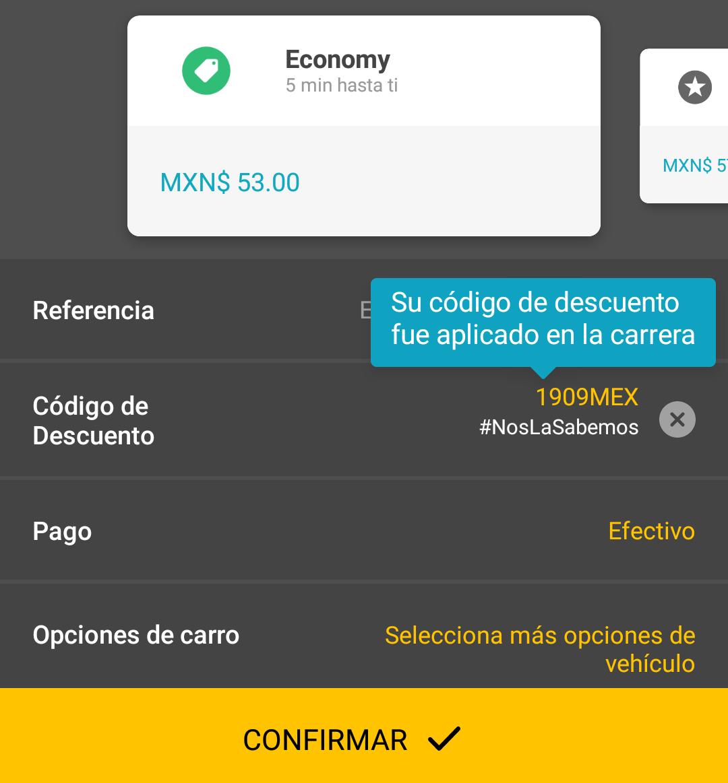 Easy taxi: cupón de 35% de descuento (aplicado en cuenta CDMX).