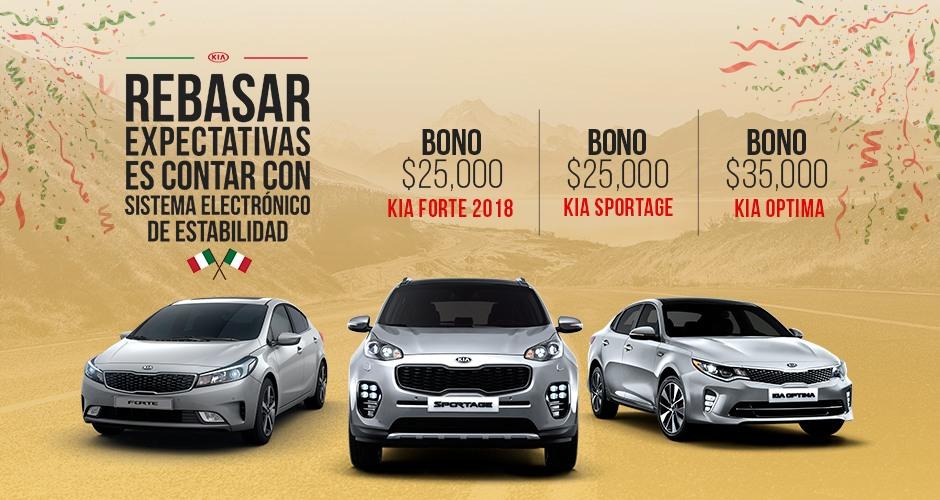 Descuentos en vehículos KIA 2018 desde 0 % comisión por apertura hasta $35,000 de bono.