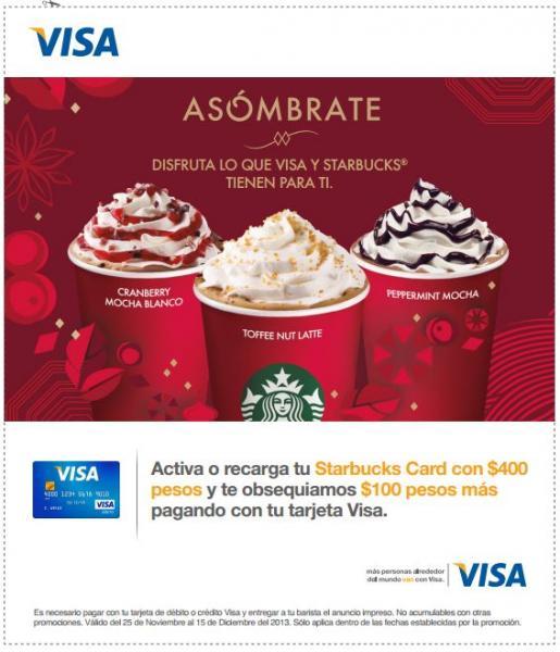 Starbucks: recarga $400 con Visa y recibe $100 de regalo