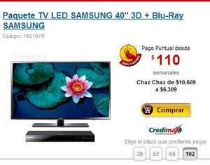 "Elektra: Pantalla Samsung LED 3D Samsung de 40"" + blu-ray 3D $6,309"