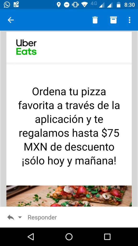 Uber Eats: $75 pesos de descuento en pizzas (Usuarios seleccionados y nuevos)