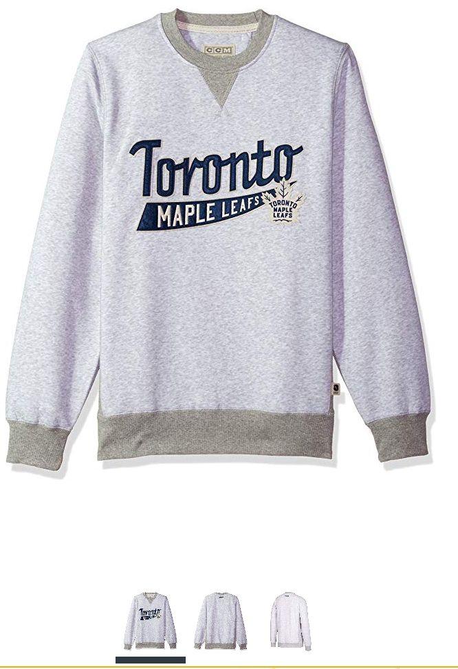 Amazon: SUDADERA Adidas NHL Crew - Forro Polar para Hombre, Acabado de CCM, Light Grey Heathered, Mediano