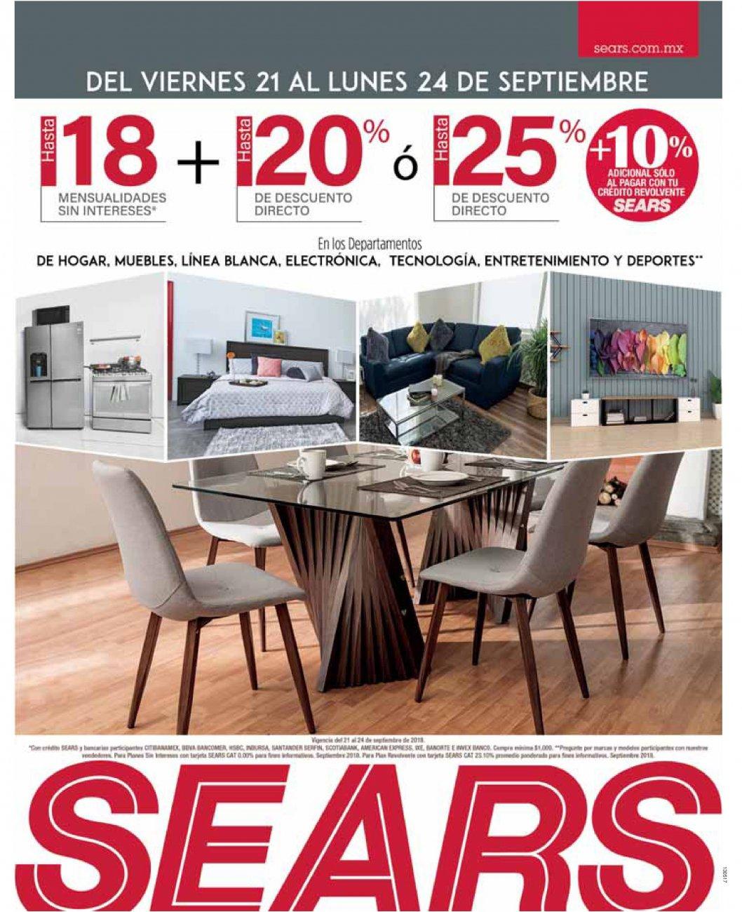 Sears: Hasta 18 MSI + hasta 20% desc. directo ó hasta 25% desc. directo + 10% adicional con crédito revolvente Sears en diversos departamentos