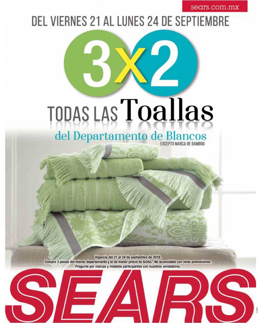 Sears: 3 x 2 en todas las toallas del departamento de blancos
