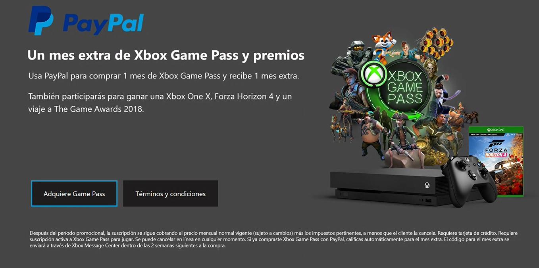 Xbox: Compra 1 mes de Game Pass con PayPal, recibe 1 mes gratis