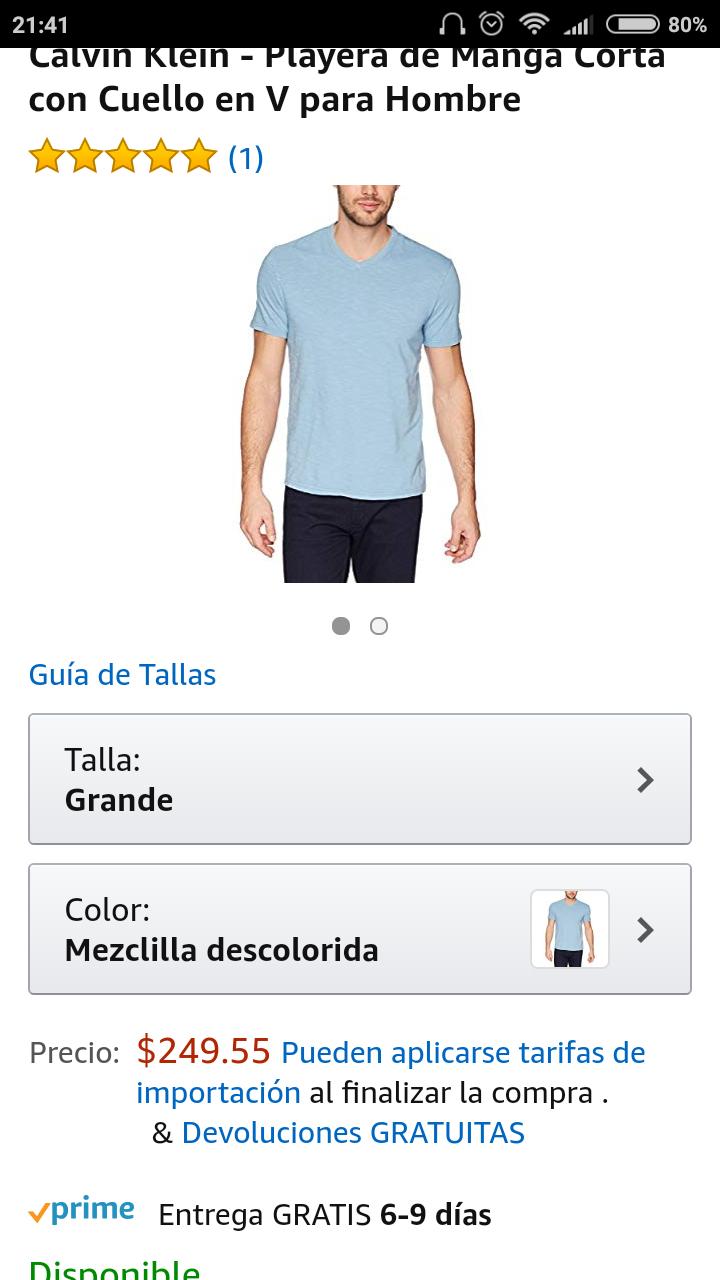 Amazon: Playera calvin klein 100% algodón talla G, aplica prime!