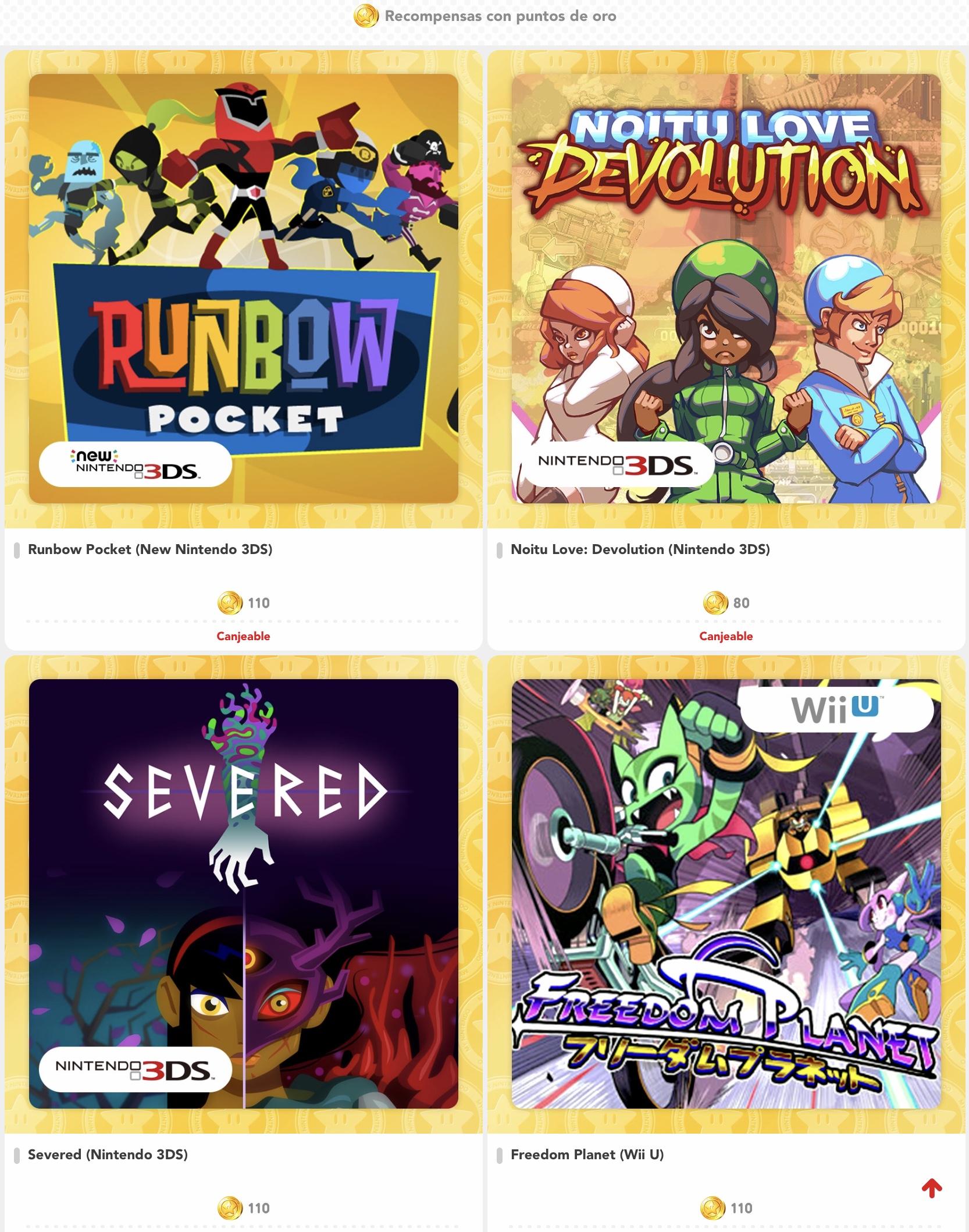Nintendo - Juegos canjeables con puntos de oro