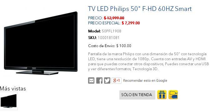 """Best Buy: LED Smart TV 50"""" $7,299"""