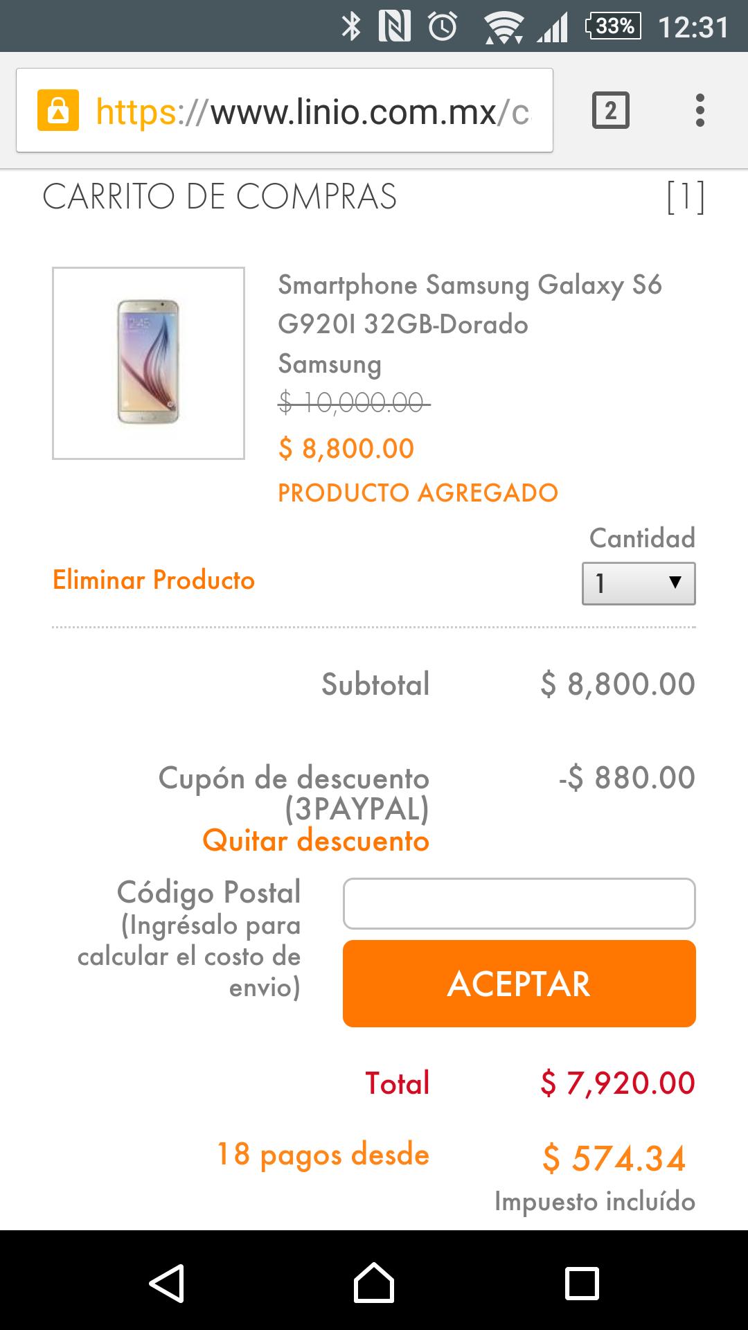 Linio: Galaxy S6 32gb a $7,920 pagando con Paypal