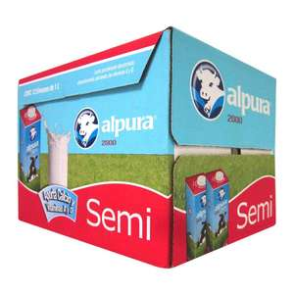 Sam's Club: Caja con 12 litros de leche alpura semidescremada