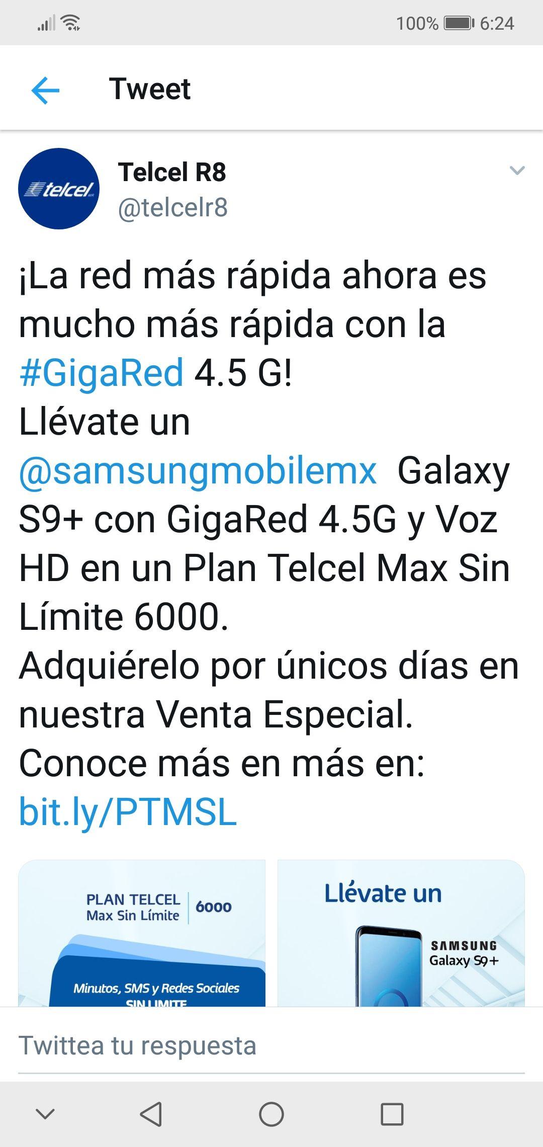 Venta Especial Telcel Samsung Galaxy S9+ en Telcel Max 6000 (599), costo por equipo $250 mensual.