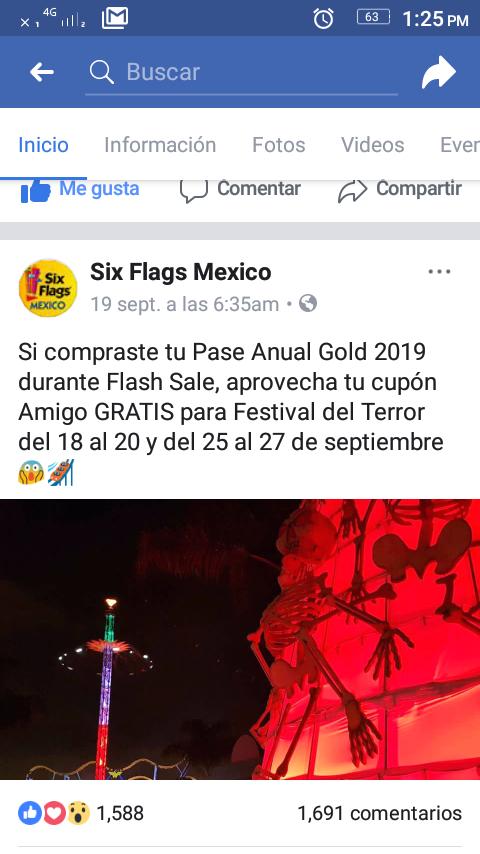 Six flags : amigo gratis, solo si compraste el pase anual Gold  2019 en flash sale