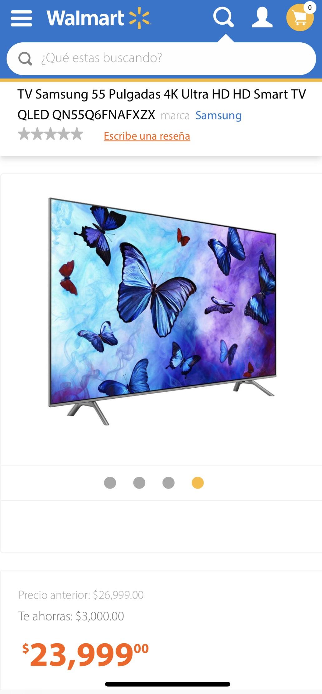 "Walmart: Pantalla Samsung 55"" 4K Ultra HD HD Smart TV QLED QN55Q6FNAFXZX 2018 (Pagando a 12 MSI con Citibanamex Pay)"