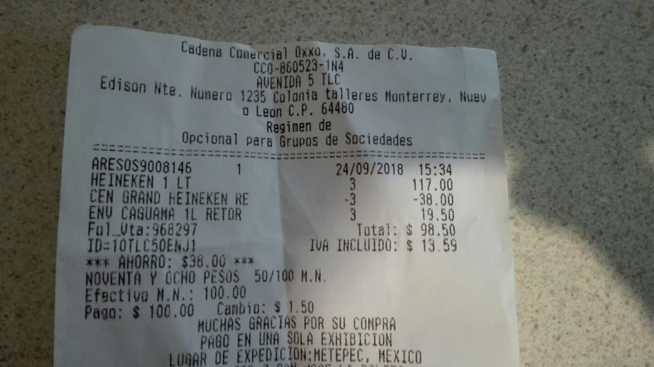 Oxxo: cerveza Heineken de 1 litro en 3 x $79