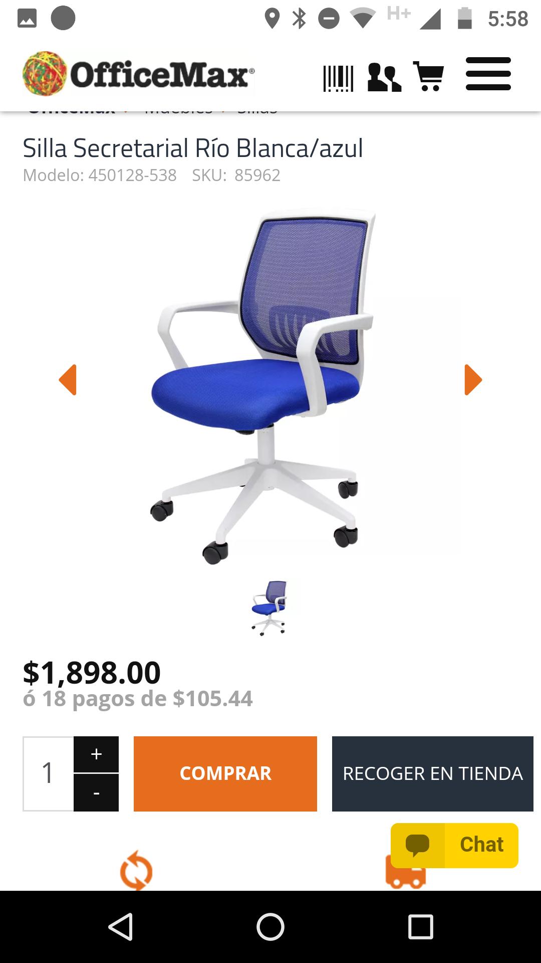 OfficeMax: Silla secretarial 40% descuento tienda