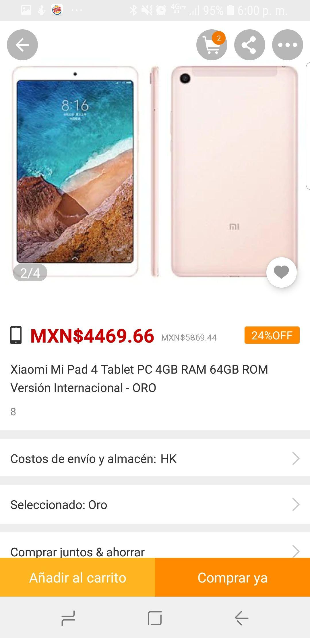Gearbest: Xiaomi mi Pad 4 64gb/4gb ram version internacional