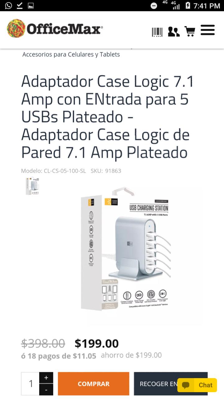 OfficeMax: Adaptador Case Logic 7.1 Amp con ENtrada para 5 USBs Plateado - Adaptador Case Logic de Pared 7.1 Amp Plateado