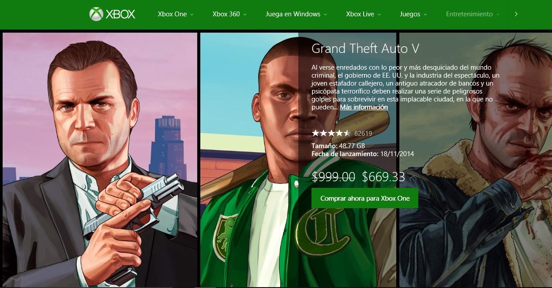 Xbox Store: GTA V XBOX ONE $669.33 para usuarios Gold