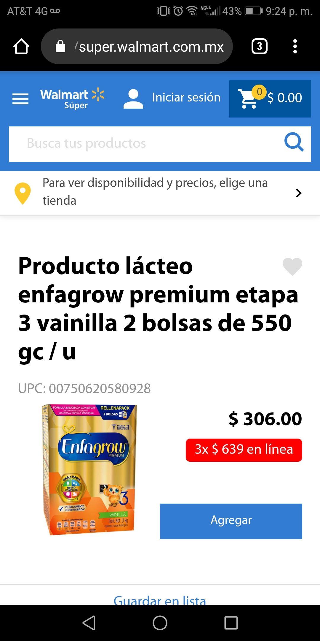 Walmart: Producto lácteo enfagrow premium etapa 3 vainilla 2 bolsas de 550 g c/u (3x$639)