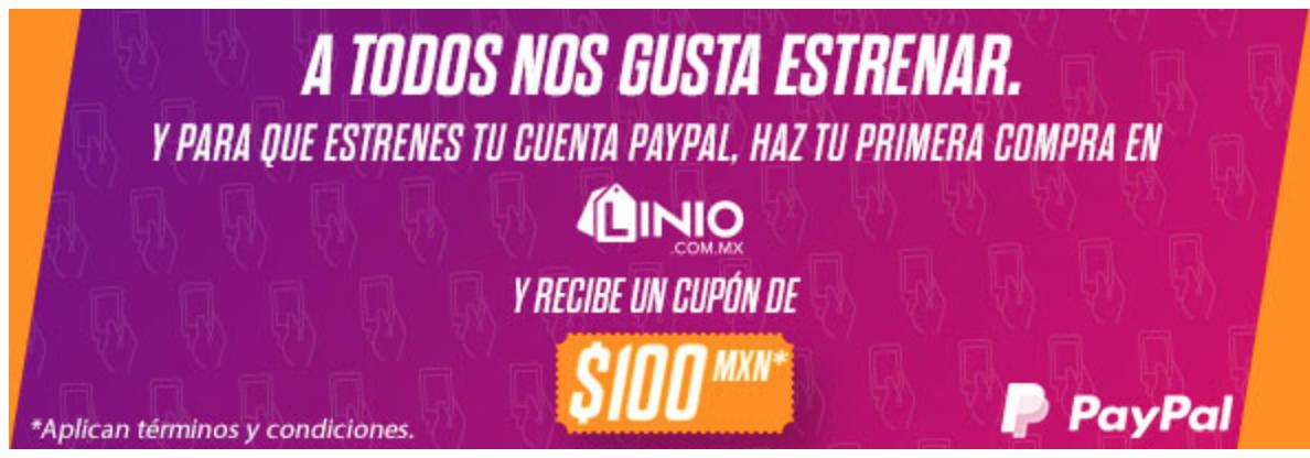 Linio: Cupon de $100 Pesos al hacer tu primer compra de PayPal en Linio