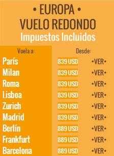 Mundo Joven: vuelo redondo a Europa $839 dólares, Dallas $299, Montreal $449 y +