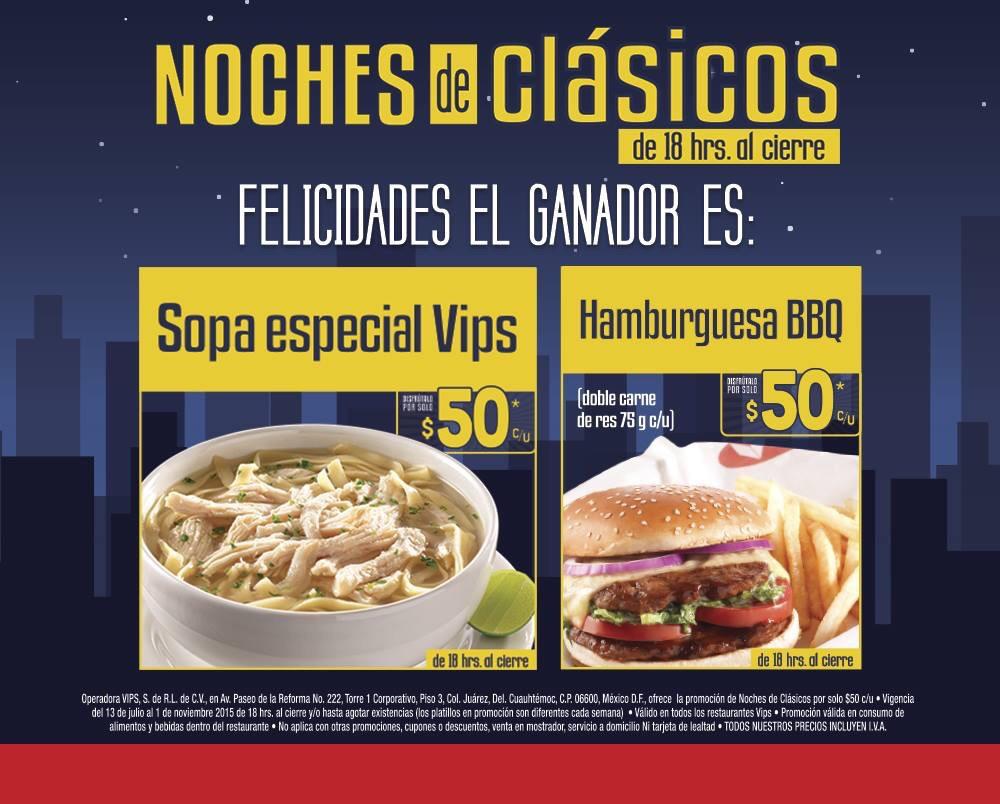 Vips: Noches de clásicos, hamburguesa BBQ + papas fritas + (Moka Frío GRATIS en el ticket) a $50