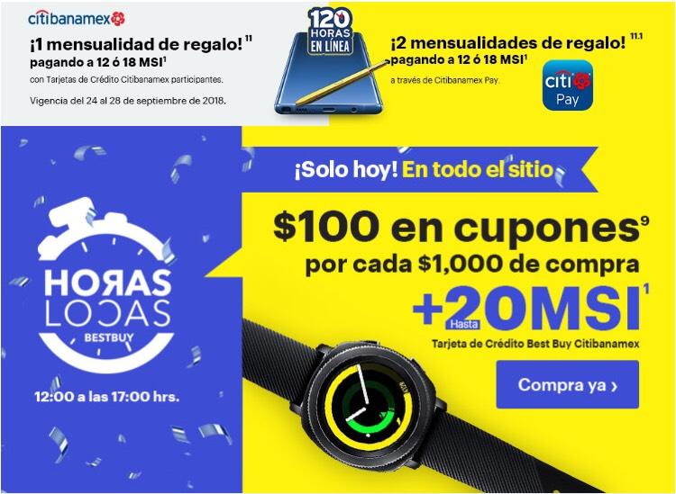 Best Buy: HORAS LOCAS! cashback en Cupones de $100 por cada $1000 de compra con Banamex