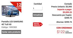 "Elektra: Smart Tv Samsung 40"" Full HD wi-fi 5,695 con cupón"
