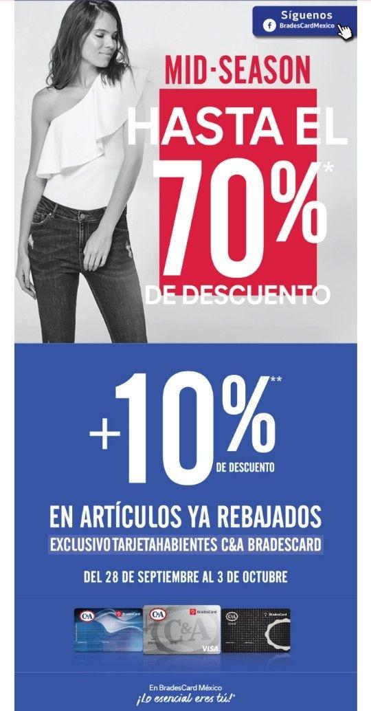C&A: 70% + 10% de descuento