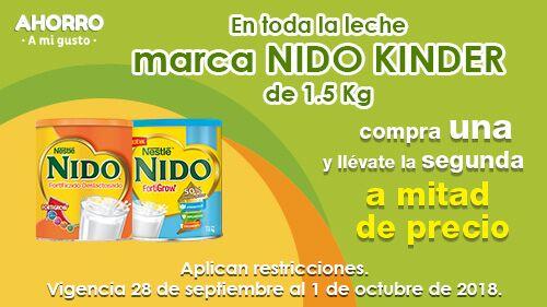 Soriana Híper, Súper y MEGA Soriana: 2 x 1½ en toda la leche Nido Kinder 1.5 kg.