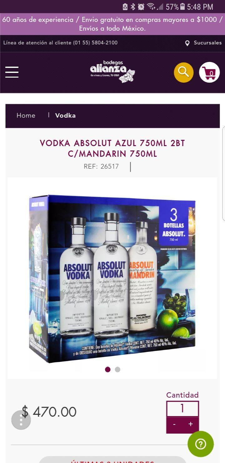 Bodegas Alianza: Vodka Absolut Azul 750ml 2Bt C/Mandarin 750ml