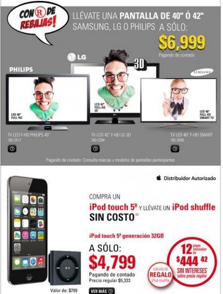 """RadioShack: pantalla 3D LG de 42"""" o Samsung Smart TV 40"""" $6,999 y más"""