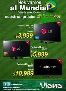 "Viana: pantalla LED LG 42"" $5,999 y Samsung Smart TV 50"" $10,999"