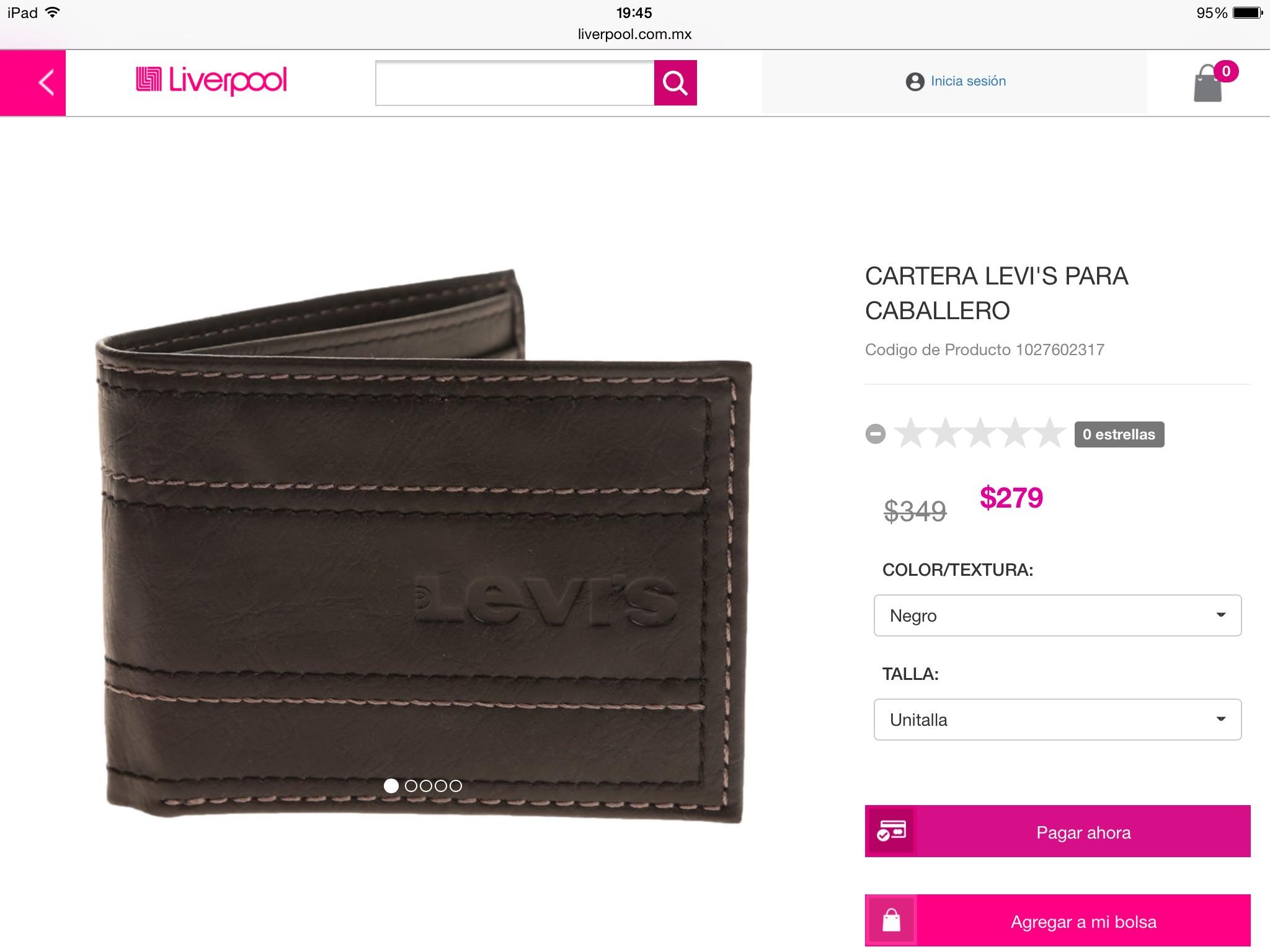 Liverpool: Mercancía Levi's 20% carteras desde $279.00 y otros