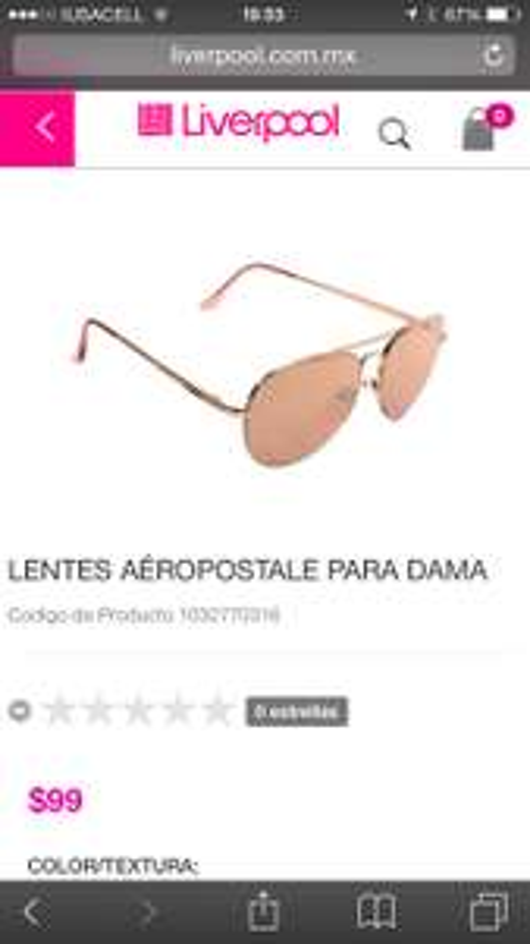 LIVERPOOL: lentes para dama Aeropostale a $99