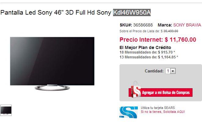 """Sears: Sony LED Smart TV 3D de 46"""" $11,760 y más"""
