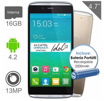 Walmart: Alcatel Idol Alpha 16GB Oro (Desbloqueado) + Batería Portátil + 18 Meses sin intereses