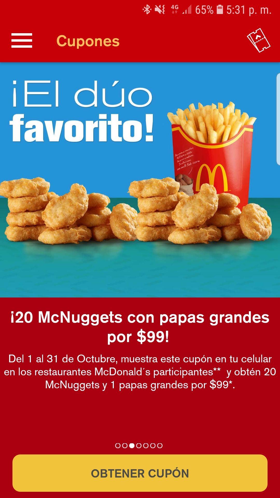 McDonald's 20 nuggets y papas grandes