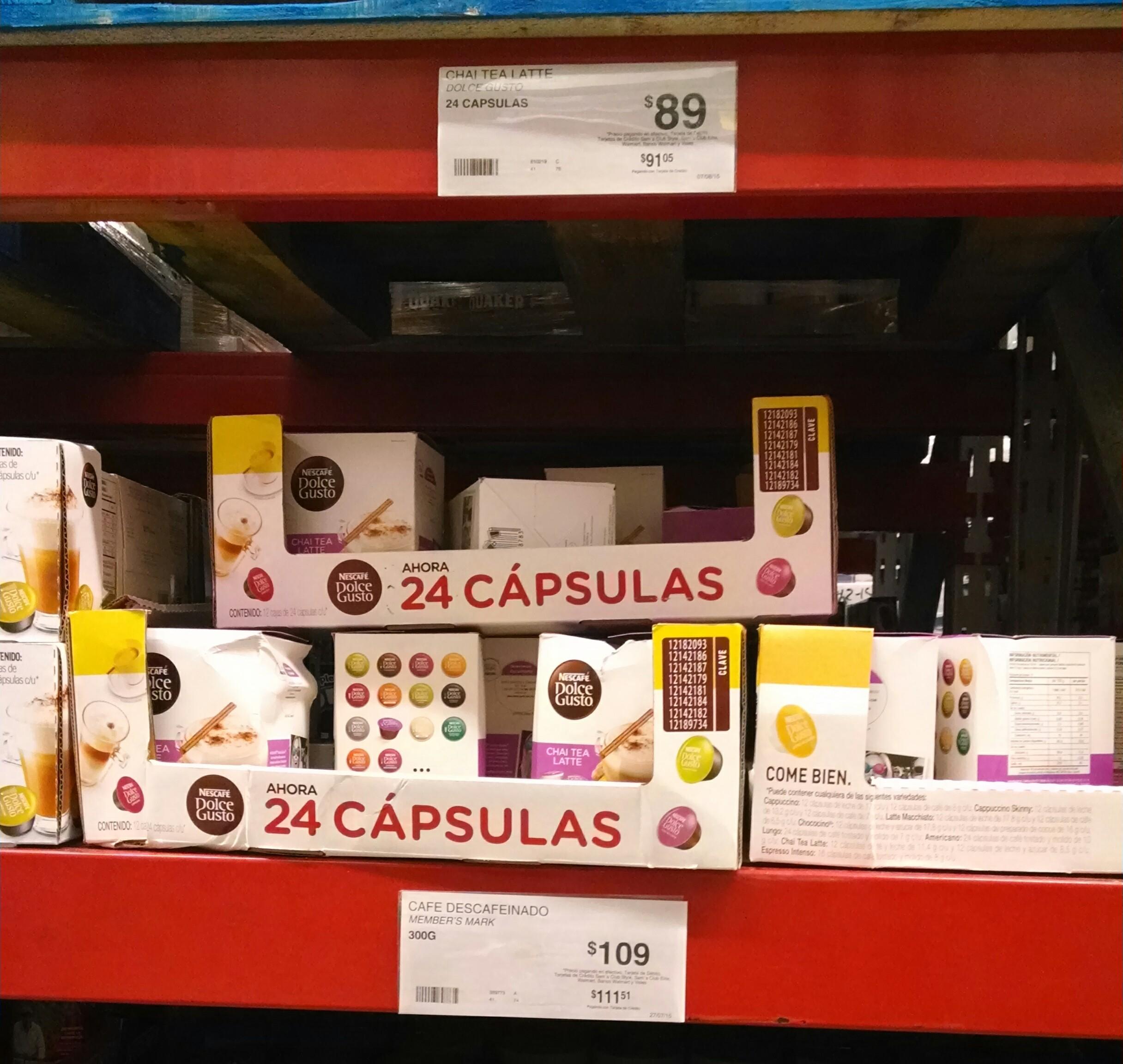 Sam's Club: 24 cápsulas dolce gusto chai tea late a $89