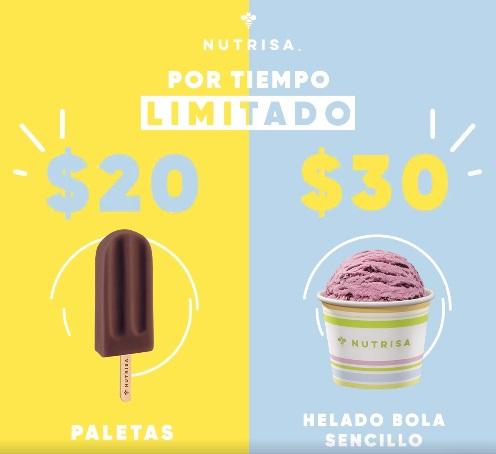 promoción de paletas y bolas de helado en nutrisa