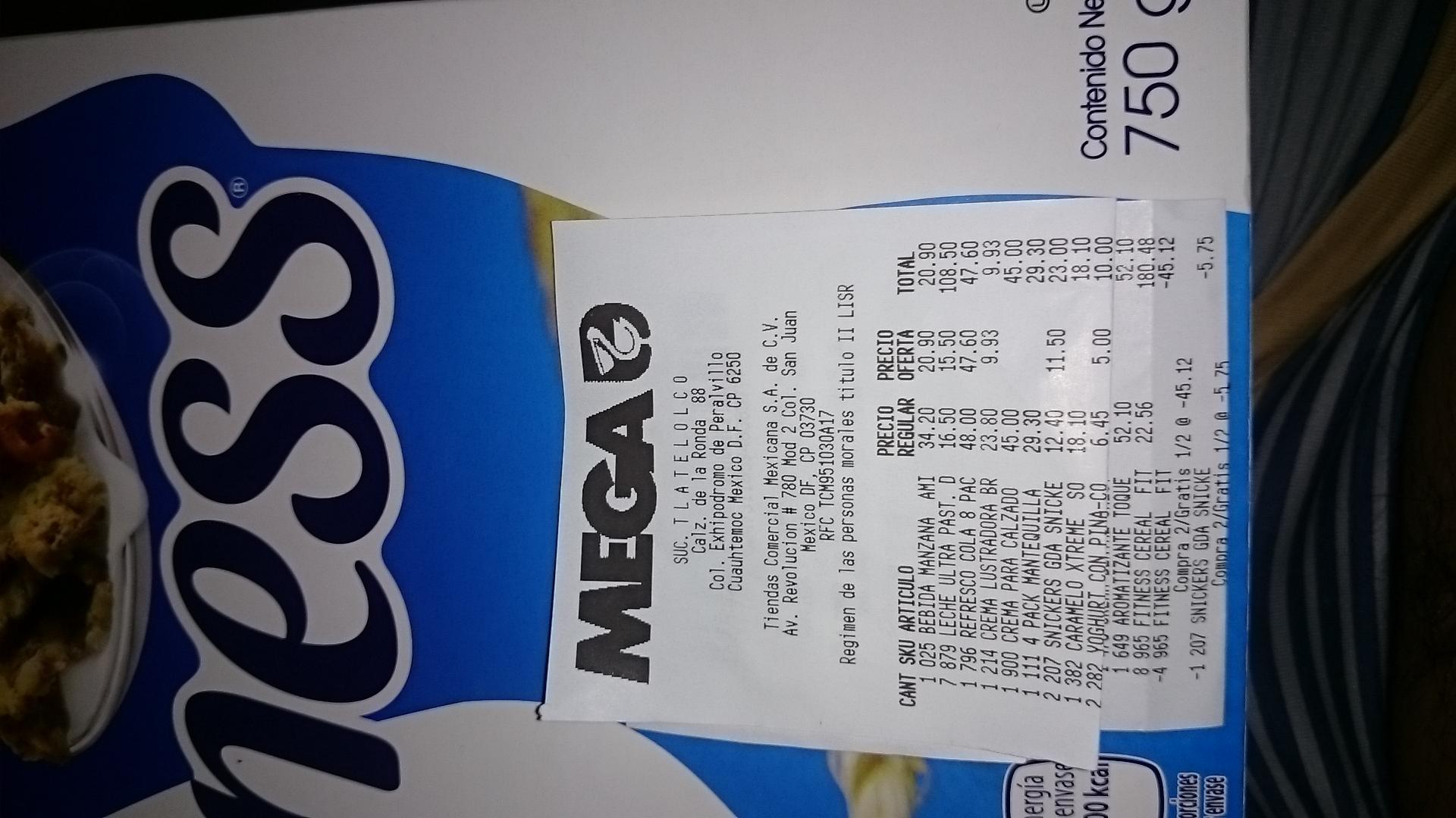 La Comer: Fitness cereal Nestlé 750 gramos a $22.56 y 2x1 y medio
