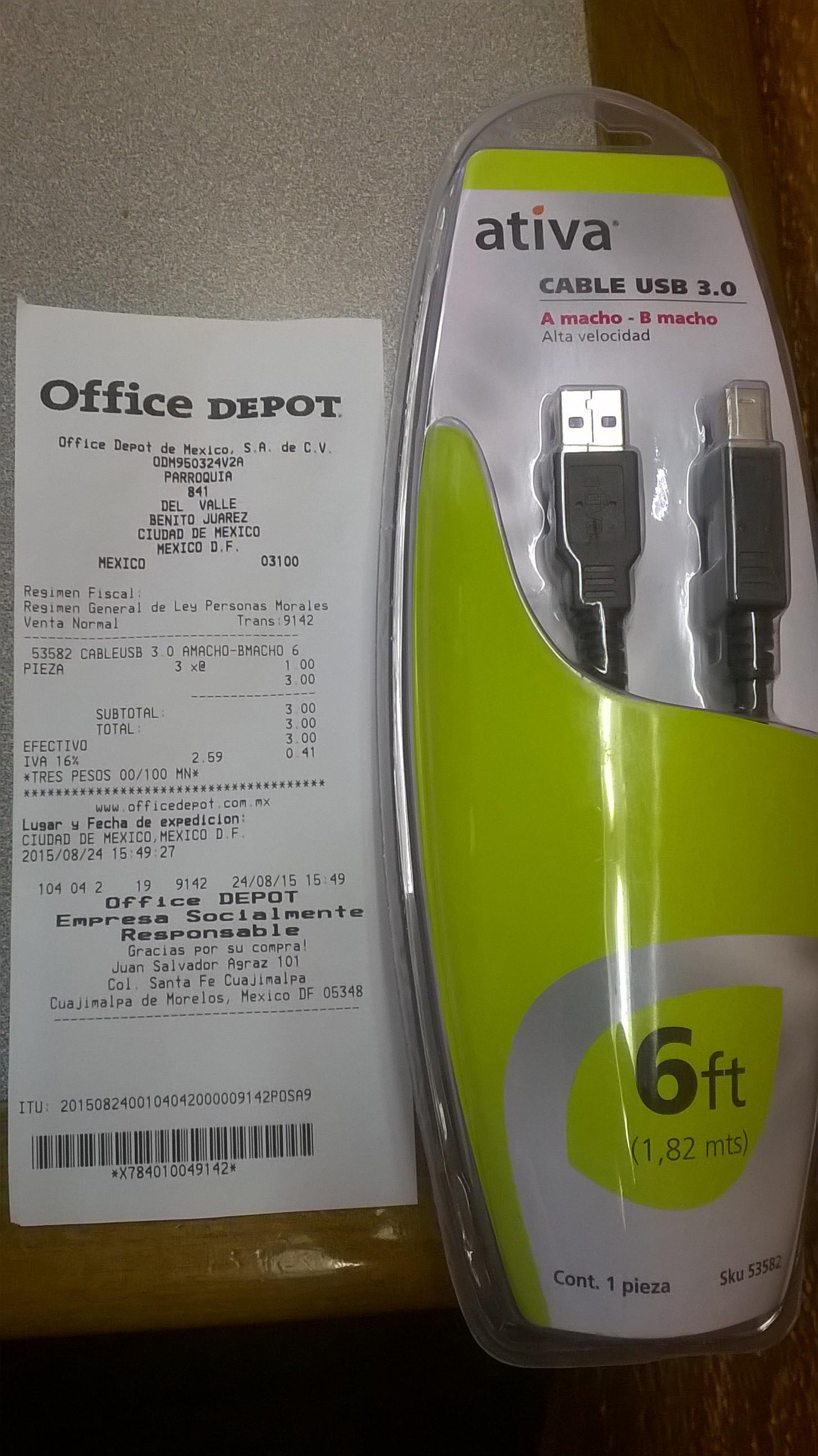 Office Depot: Cables USB 3.0, tipo macho A - macho B a $1