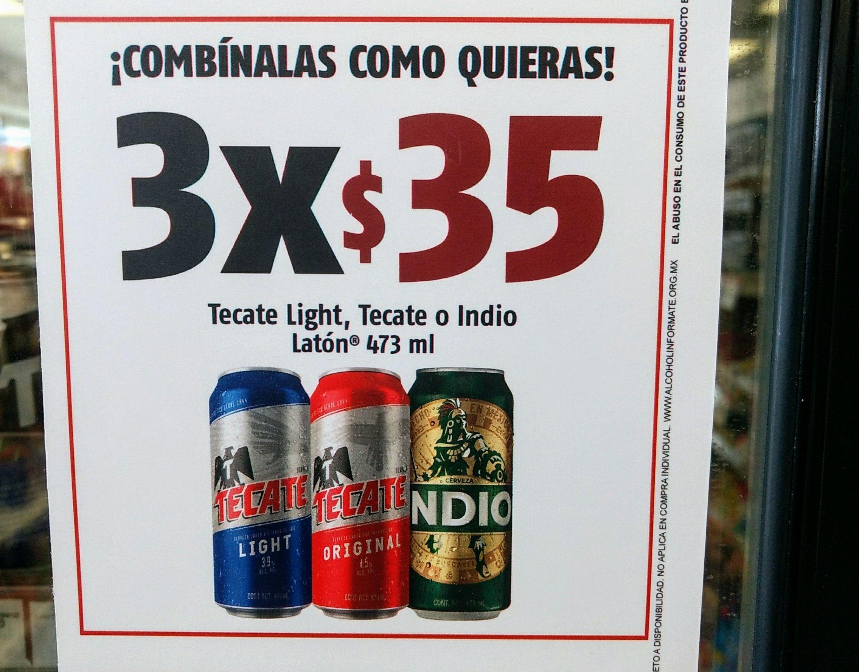 Oxxo: 3 Latones de Cerveza 473ml