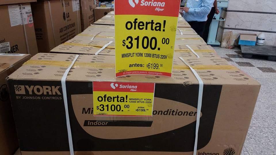 Soriana: Minisplit York 3100 12000btus a $3,100